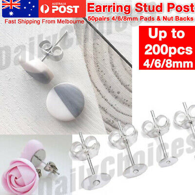 50x Earring Studs Post 4/6/8mm Pads & Backs Silvery Surgical Steel DIY Craft M