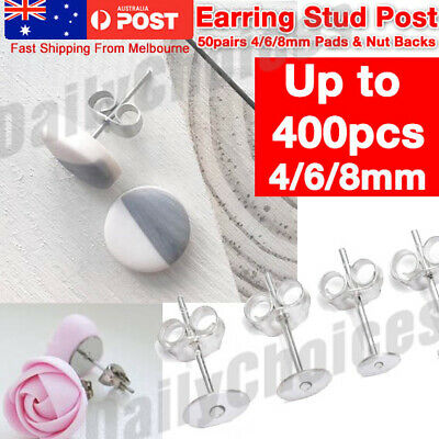 50/100 pcs Earring Stud Post +Back Pads Stainless Steel Flat Round Blank 4 6 8mm