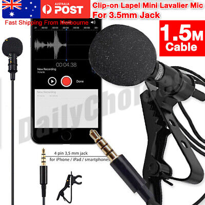 3.5mm Lavalier Mic Lapel Clip-on Microphone for PC Recording iPhone Android