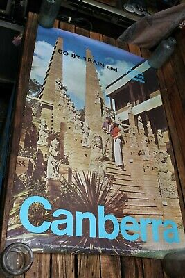 Vintage Tourism Rail Poster Canberra by Train Victorian Railways Vic