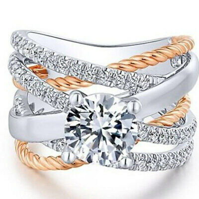 Two Tone 925 Silver,Rose Gold Plated Wedding Ring White Sapphire Size 5-12