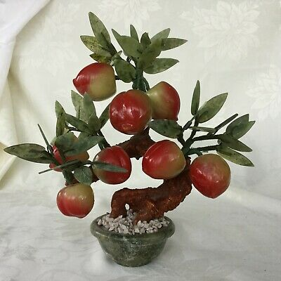 Vintage JADE Peking Glass PEACH Apple Fruit BONSAI Tree 1960's