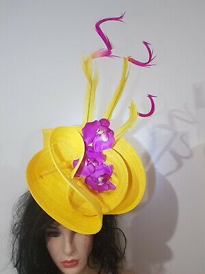 Fascinator hatinator hat races wedding costume formal yellow - 2nd place winner