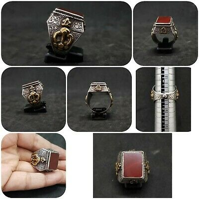 Wonderful Solid Silver And Gold Plated Rare Ring With Yemani Agate Stone #H76