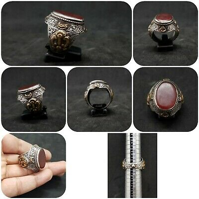 Old Yemani Agate Stone Solid Silver And Gold Plated Unique Ring #H76