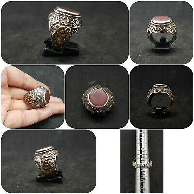 Beautiful Old Yemani Agate Stone Solid Silver And Gold Plated Unique Ring #H85