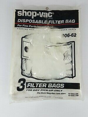 Shop-Vac 3 Disposable Filter Bags #906-62 Dry Dust Pickup New