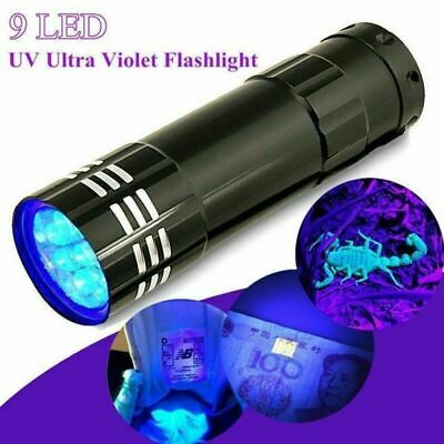 Mini Aluminum UV Ultra Ultraviolet 9 LED Flashlight Blacklight Torch Light Lamp