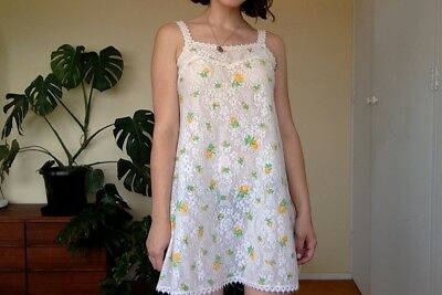 Vintage Hanro of Switzerland Babydoll Slip Sleepwear Sheer Lace Floral