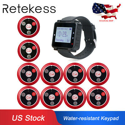 Retekess Wireless Watch Paging System 10*Call Button 4Key for Restaurant Cafe US