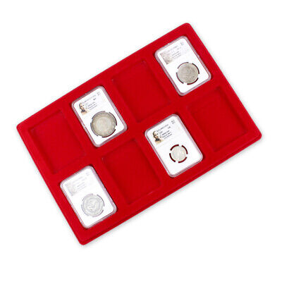 Red Coin Display Tray (8 Grids) Storage Case for NGC PCGS Coin Slab Holder