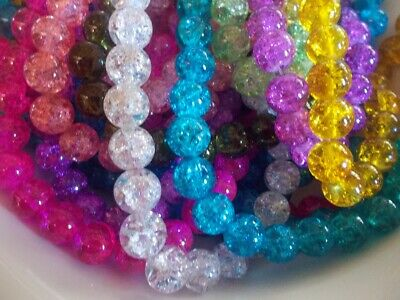20 x loose crackle glass beads round, 10mm with 1.5mm hole various colours