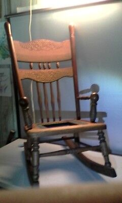 "Antique (very old) 30"" High Children's/Larger Doll Solid Hardwood Rocking Chair"