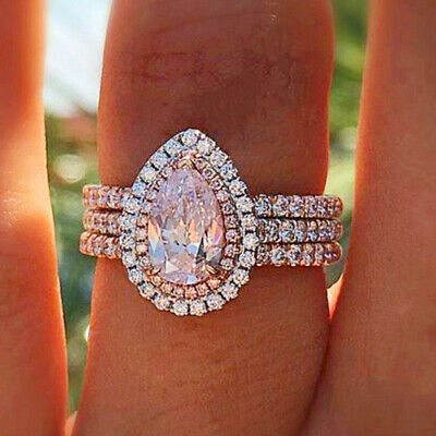 Elegant Women 925 Silver Plated Jewelry Wedding Rings Pink Sapphire Size 6-10
