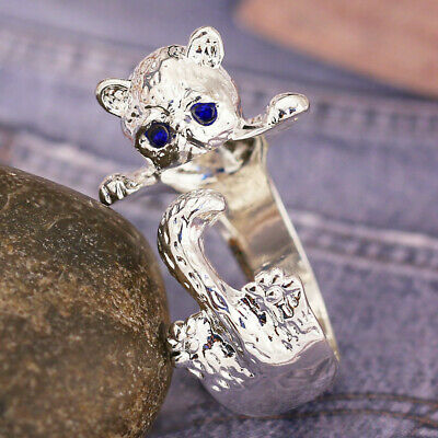 Cute Cat Women 925 Silver Plated Party Rings Sapphire Ring Size Adjustable