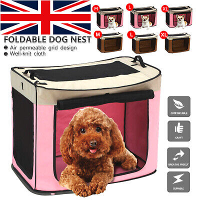 UK Pet Carrier Dog Cat Puppy Soft Fabric Folding Cage Travel Transport Crate Bag