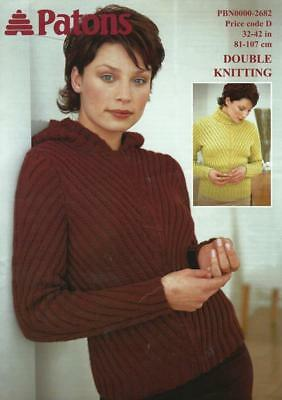 Pa2682 Ladies Dk Cabled Sweater & Hooded Zipper Jacket Knitting Pattern 32-42""