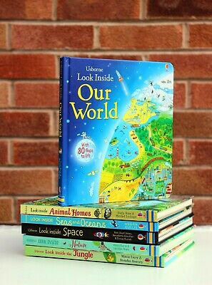 Usborne Look Inside 6 Books collection Set - Animal Home, Nature, The Jungle NEW