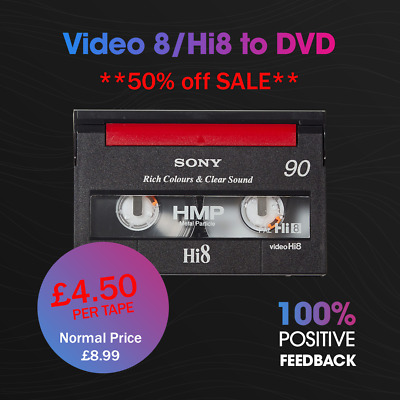 Transfer Video8 or Hi8 Tapes to DVD (ONLY £4.99)