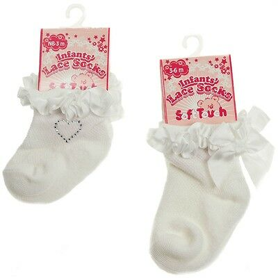 Baby Girl Cream Lace Frill Diamonte Heart Socks Traditional Romany Spanish