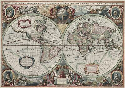 Old World Map Vintage Globe 24x36 Wall Table Poster