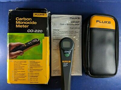 Fluke CO-220 Carbon Monoxide Meter, Great Condition, Screen Protector