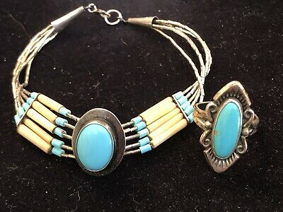 Vintage Sterling Silver Native American Turquoise Ring Navette Old Pawn Bracelet