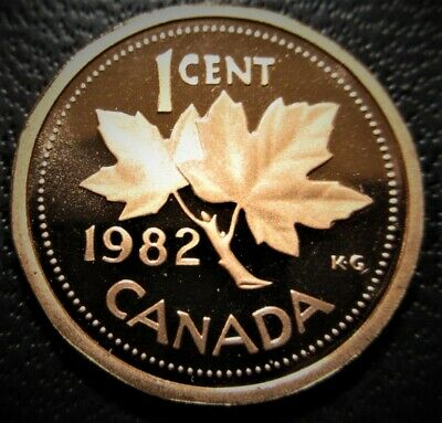 1982 1 Cent Penny Canada Proof - Heavy Cameo - From Mint Set
