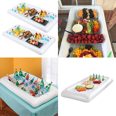 Inflatable Tabletop Cooler Food Drink Indoor Outdoor Bbq Picnic Pool Party 2 Pcs