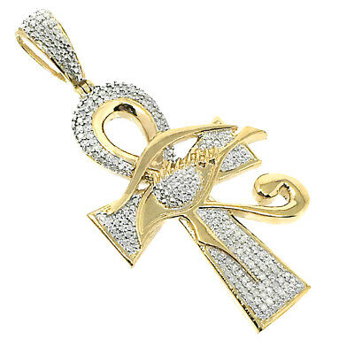 Men Ladies .33ct Genuine Real Diamond Egyptian Evil Eye Ankh Cross Charm Pendant