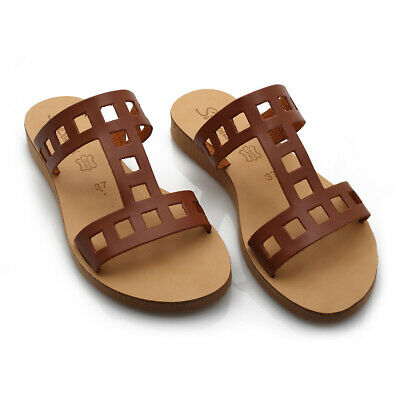 Ancient Greek Style Roman Slide Leather Handmade Sandals Shoes Women Flat Shoes