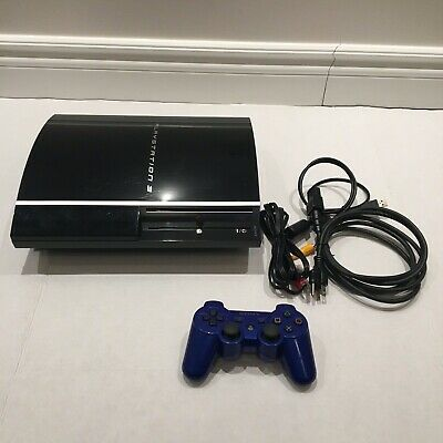 Sony PlayStation 3 PS3 80GB Piano Black Game Console w Power Cable & 1 Controler