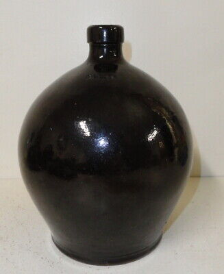 """Rare 19th C. Signed """"I Bell"""" Early John Bell Redware Jug"""
