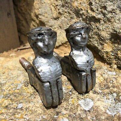 Pair Vintage French Shutter Catches Cast Metal Hooks Decorative Men With Beret