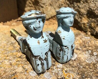 Pair Vintage French Shutter Catches Cast Metal Hooks Decorative Men Blue Beret