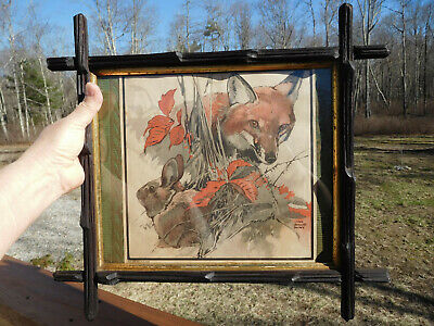 Antique American Adirondack Carved Black Wood Frame~Lynn Bogue Hunt~Forest Print