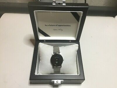 NEW Skagen Ultra Slim Watch Small 19mm Black Face No Battery Silver Display Box