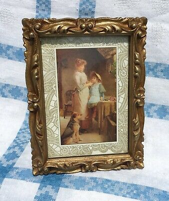 Vintage 1973 Inercraft Faux Gilt Wood Ornate Picture Frame Post WWII Style 5x7