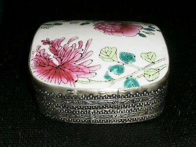 Large Antique Porcelain Shard Silver Plated Box Peony Flowers