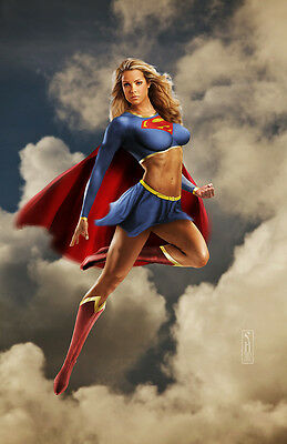 Supergirl DC Comics Original Fine Art Print signed by artist Scott Harben
