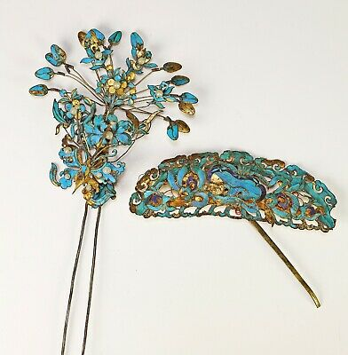 Two Piece Lot of Antique Chinese Gilt Silver and Kingfisher Feather Hair Accents