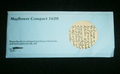 Vintage Reproduced on Parchment Mayflower Compact 1620 NWOT