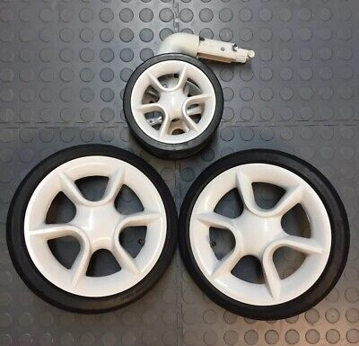 Quinny Moodd Full Set Of Wheels - Two Rear & One Front - White - Air Filled