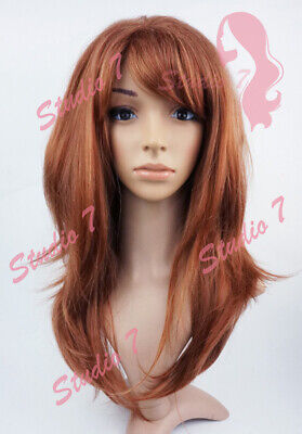 W141 Auburn Mix Long Wavy Layered Wig - studio7-uk