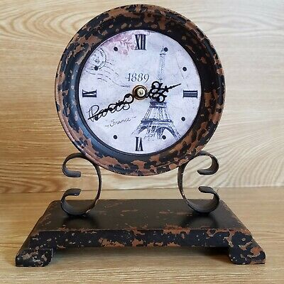 Shelf or Mantle Clock For Rustic Shabby Chic Decor BrownRust Paris Eiffel Tower