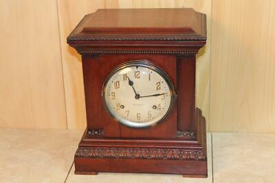 Antique New Haven 8 Day Gonging Mantle Clock ~ Beautiful Cabinet ~