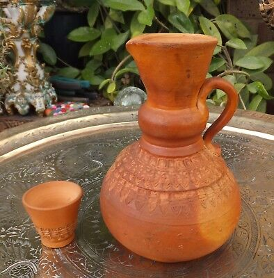Antique Islamic Terracotta Pitcher Water Jug & Goblet Hand Tooled Decor Aftaba
