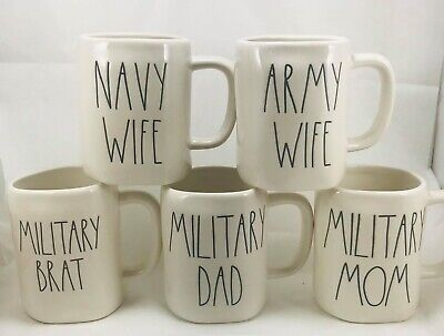 Rae Dunn Military Mugs - You Choose - Army Wife Navy Wife Military Brat Mom Dad