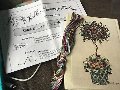 Choice of 3 fine embroidery kits: thread, instructions, canvas or linen cloth
