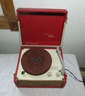 Vintage 1950's WEBCOR Melody #1912 Portable Record Player Suitcase Style WORKS